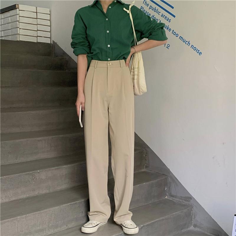 2021 Suit Pantolon Kadın Yüksek Bel Düz Pantolon Ofis Lady Moda Pantolon Çalışma Stil Sonbahar Yeni EP7N