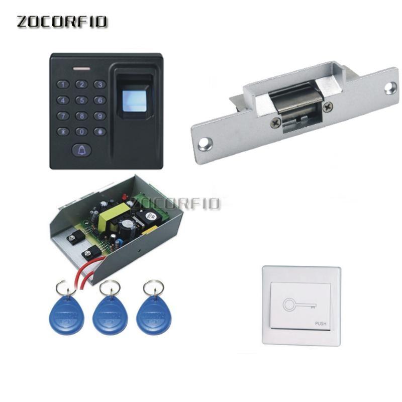 madeira DIY Porta Access Control System Kit Set + Greve Door Lock + teclado + Exit botão + 10 keyfobs