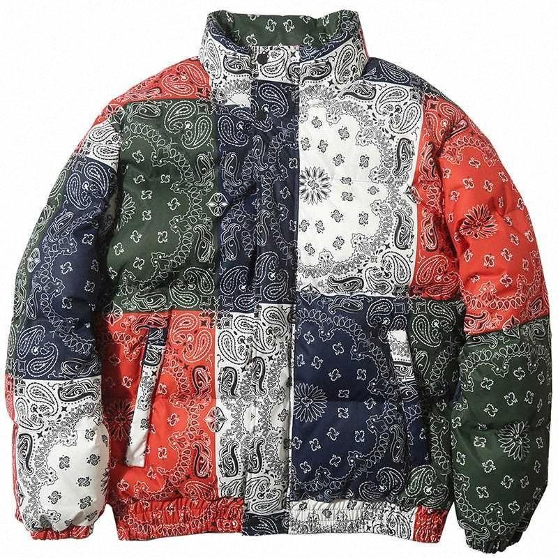 Winter Padded Coat Warm Outdoor Clothing Hip Hop Jacket Parka Men Windbreaker Streetwear Retro Pattern Color Block Harajuku 8lUu#