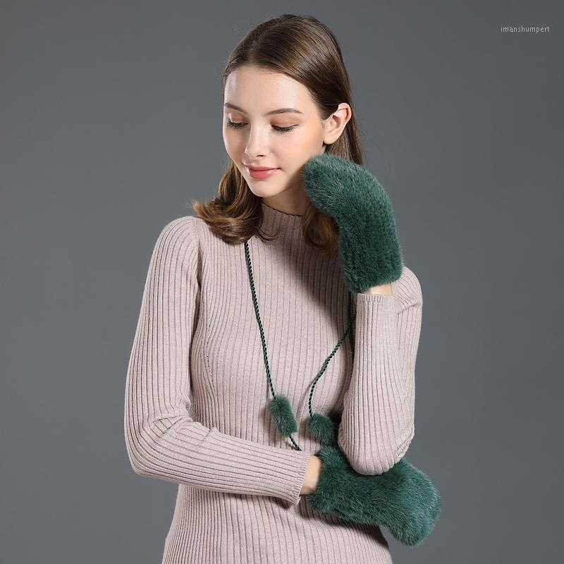 Winter Gloves Real Knitted Gift Mom Genuine Fur 2020 New Hand Made Luxury Fashion Natural Warm Wrist Full Glove Female1
