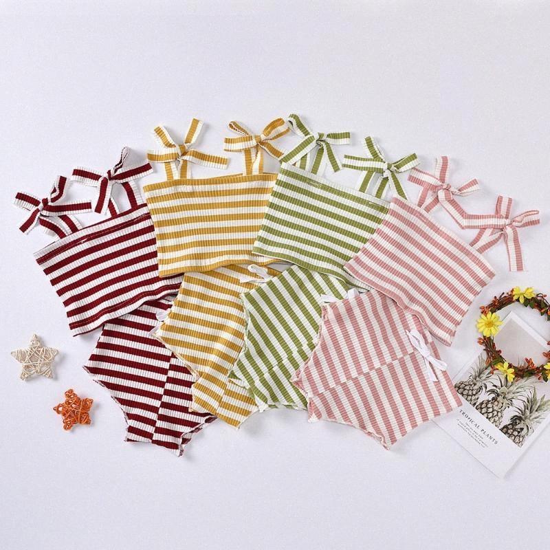 bunvel 0-2T Baby Girl roupas de verão Define bebés roupa listrada sem mangas tops de culturas + Triangle Shorts PP Calças 2pcs Roupa ge4l #