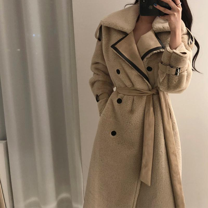 lã grossa pelagem 2019 mulheres de inverno de lã longo aquecer coatX1020 pêlo longo