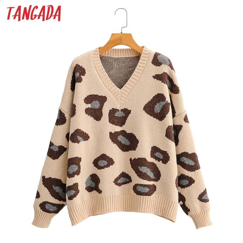 Tangada Women Fashion Leopard Knitted Sweater jumper V Neck Female Oversize Pullovers Chic Tops1F206 201017