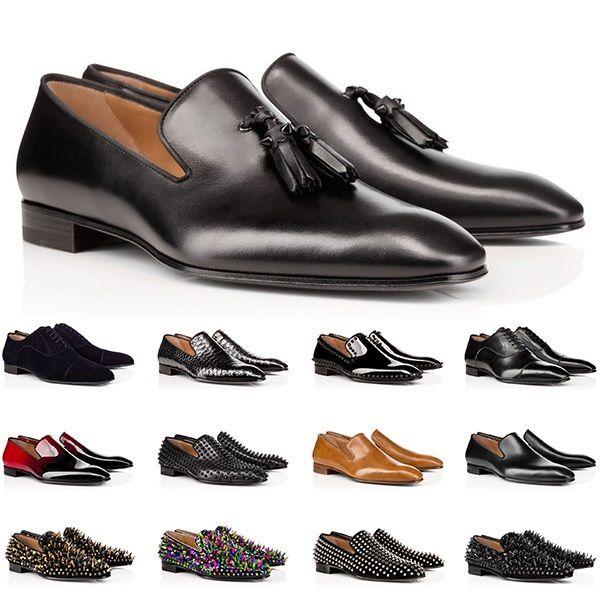 Üst Tasarımcı Erkek Hakiki Deri Ayakkabı Kırmızı Dipleri Düşük Kesim Çivili Spike Elbise Ayakkabı Düğün Parti Erkek Eğitmenler Sneakers Boyutu 40-47