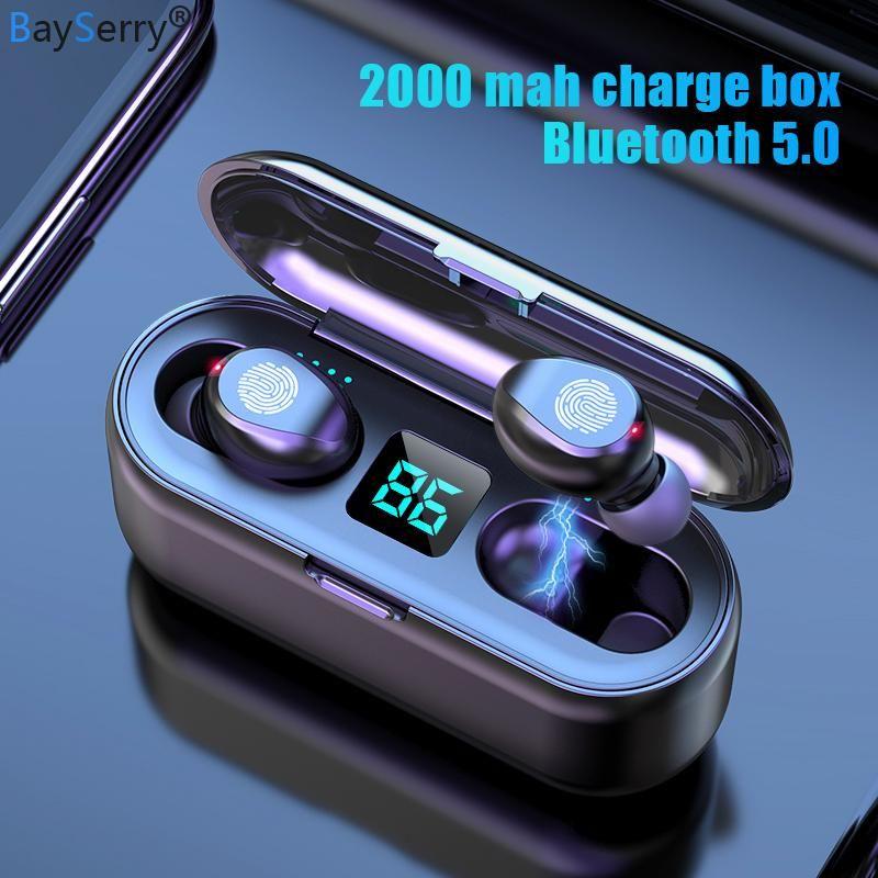 TWS 5.0 casque sans fil Bluetooth Stéréo Sport Musique Sport Sans fil Casque de casque 2000mah Led Power Bank pour S9