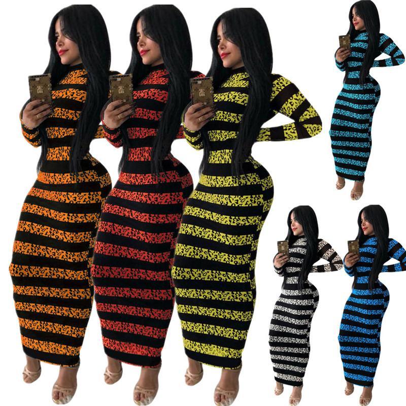 Мода женские платья полоса напечатанные дамы с длинным рукавом длинные длины платье осень зима bodycon one piece юбки повседневная комфортное платье 2020
