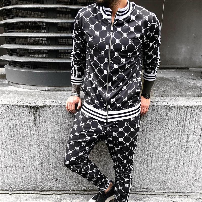 Caballeros Capacitación Traje Herfst Fashion Hombres Casuales Conjuntos de Fitness Letra Patchwork Sweetpants Sweetwear Sport Pak Streetwear
