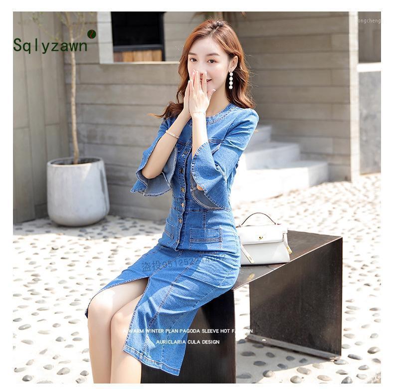 Flare Sleeve Bodycon Midi Dress Women Summer Vestidos 2019 New Pocket Button Jeans Dress Sexy Split Ladies Denim Runway Dresses1