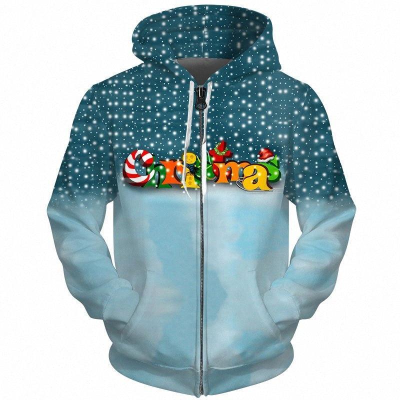 Cloudstyle Zipper Felpe Uomo Donna Casual Fashion Tute 3D Stampa Lettera di Natale Lolly neve Felpa Hip Hop Hoody Top OXof #