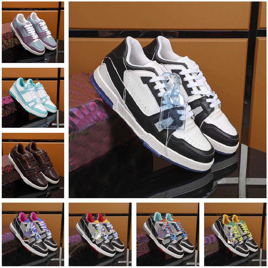 2021 NEW TRAINER SNEAKER Luxurys Designers Shoes Platform Genuine Leather Flat Sports Sneaker Low Top Tag Men Designer Casual Shoes