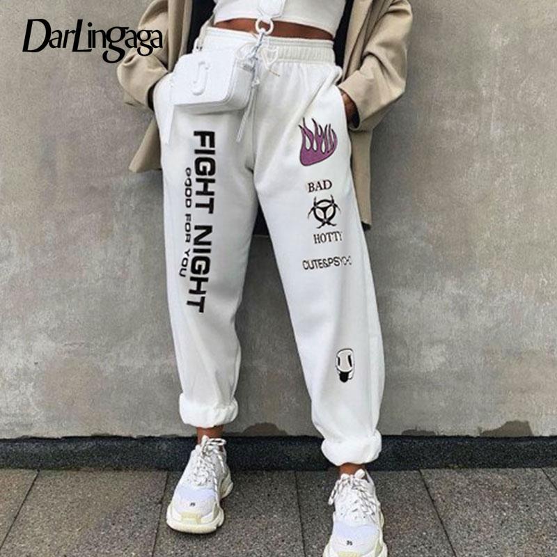 Darlingaga pantaloni casuali lettera stampata Sweatpants invernali Loose Women Harajuku Baggy Trousers Pantaloni a vita alta Sporty fondo 2020 C1001