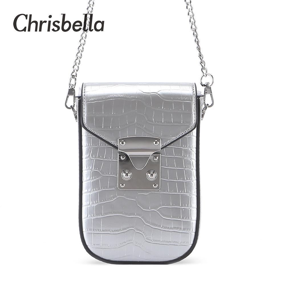 Bayanlar Q1106 için CHRISBELLA Yeni Moda Kadınlar Küçük Çantalar PU Deri Cep Telefonu Kılıfı Kadın Uzun Debriyaj Crossbody Omuz Çantaları