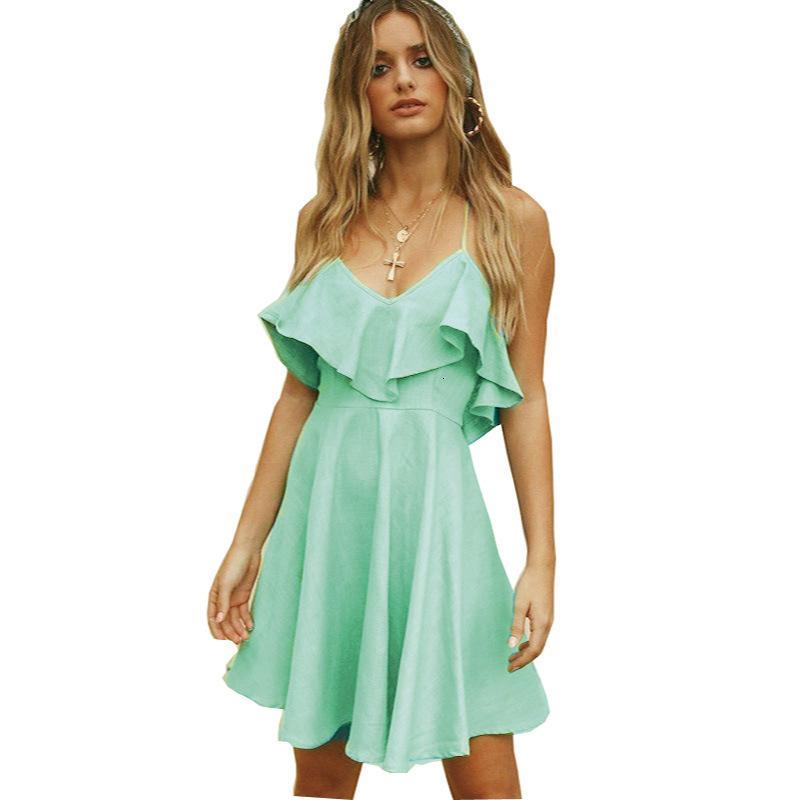 New 2021 летние женщины мини-зеленый без рукавов рюкзали из спины элегантный Es v шеи вечеринки наряды сексуальный клуб одежда Vestido AVTS