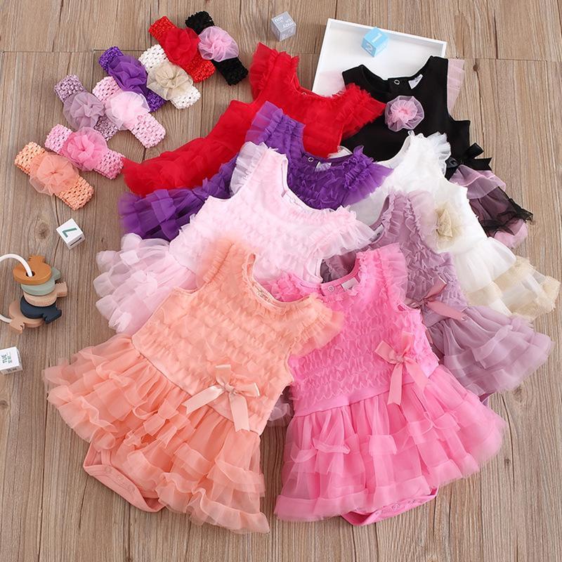 8 Cores Ins Bebê Menina Romper Headband 2 Pcs Bow Jumpsuits Infantil Bebê Outfits Kid Roupas Verão Laço Roupa Onesie Tulle Tule Vestido