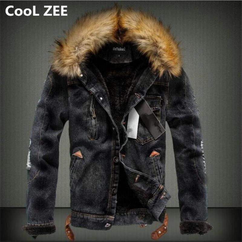 Мужские куртки Cool Zee 2021 мужская джинсовая куртка с меховым воротником Ретро разорванные флисовые джинсы и пальто для осенью зима S-XXXXL
