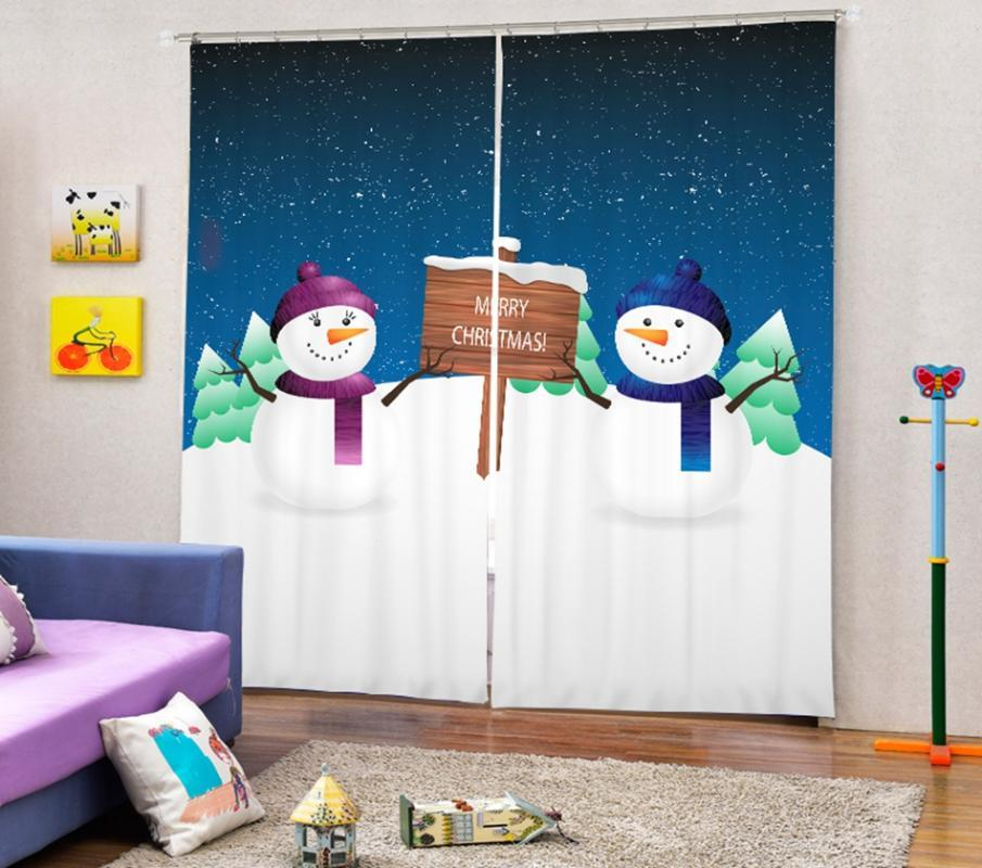 Babson simples natal boneco de neve decoração 3d digital impressão cortina diy cortina avançada foto personalizada