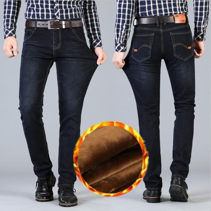 Yeni Kış Erkek Siyah Stretch Jeans İyi Kalite Slim Fit Uzun Kot kalın Sıcak Akıllı Casual Erkekler Kış Denim Isınma