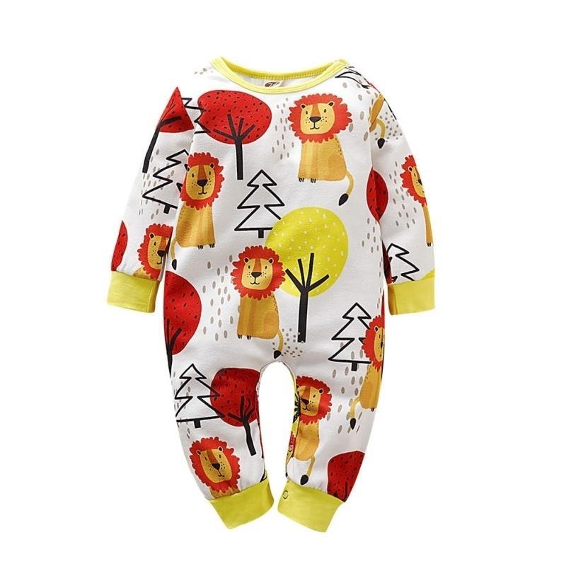 Новая мода детские мальчики девушки одежда новорожденного хлопка с длинным рукавом мультфильм печатные комбинезоны младенческие комплекты одежды 201127