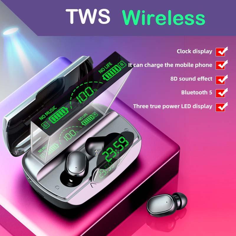 2021 Nuove cuffie Bluetooth G6 V5.1 Sport TWS Wireless LED Display Power Bank auricolari auricolari impermeabile Auricolari con cassa caricabatterie