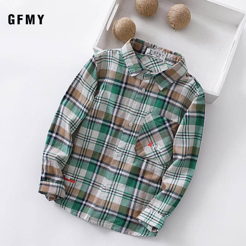 GFMY 2020 nuevo resorte del 100% de algodón suave de la manga completa Moda a cuadros camisa del muchacho 4-14 años Tops opciones de color Tres de los niños