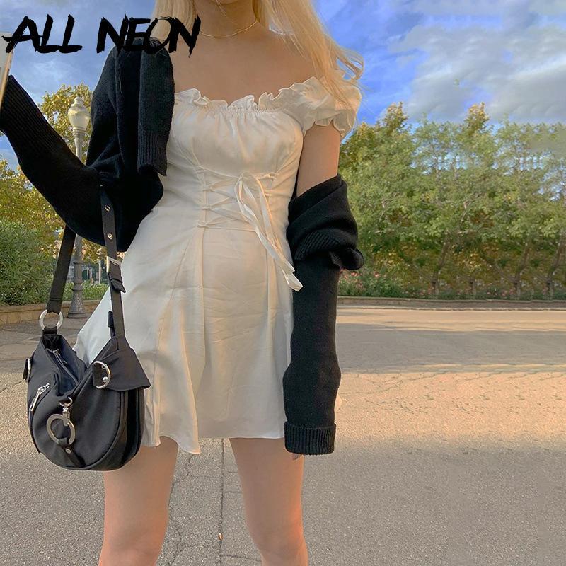 Allneon E Kız Tatlı Kapalı Omuz Lace Up Bel Beyaz Elbiseler Moda Y2K Katı Puf Kol Fırfır Hem A-Line Mini Elbise Yaz Y0118