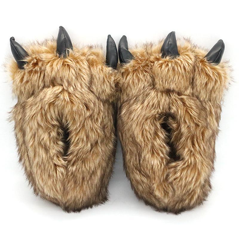Zapatillas para mujer Oso de invierno de la garra de algodón de algodón interior de piel de cálido, damas, zapatos de animal de peluche lindo, chanclas femeninas.
