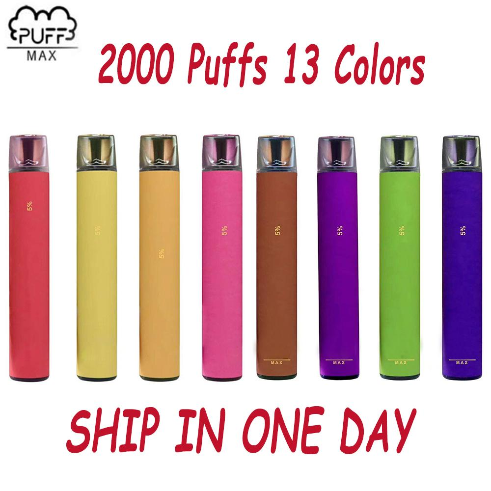 Puff Max Disposable Vape 2000 Puffs 1200mAh 8.5ML PuffBars Puff bars Max Disposable Vape Pen