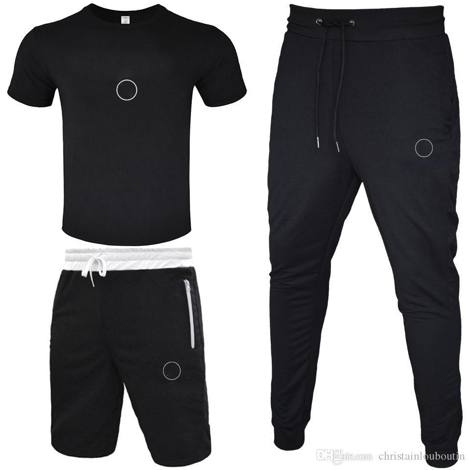 Hommes Tracksuit 2020 T-shirt + Pantalon court + Pantalon long 3 pièces Ensembles de la tenue de couleur solide Converses de haute qualité Suivi