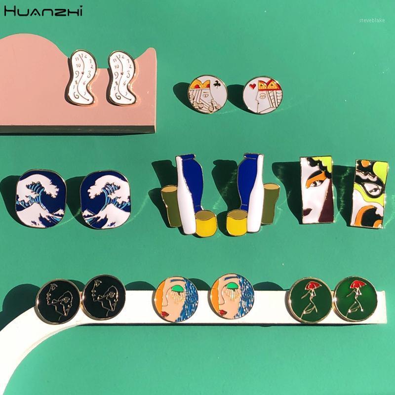 Шпилька Huanzhi 2021 эмаль абстрактные часы геометрические круглые художественные линии капельницы глазури шаблон асимметрии серьги ювелирные изделия для женщин девушки1