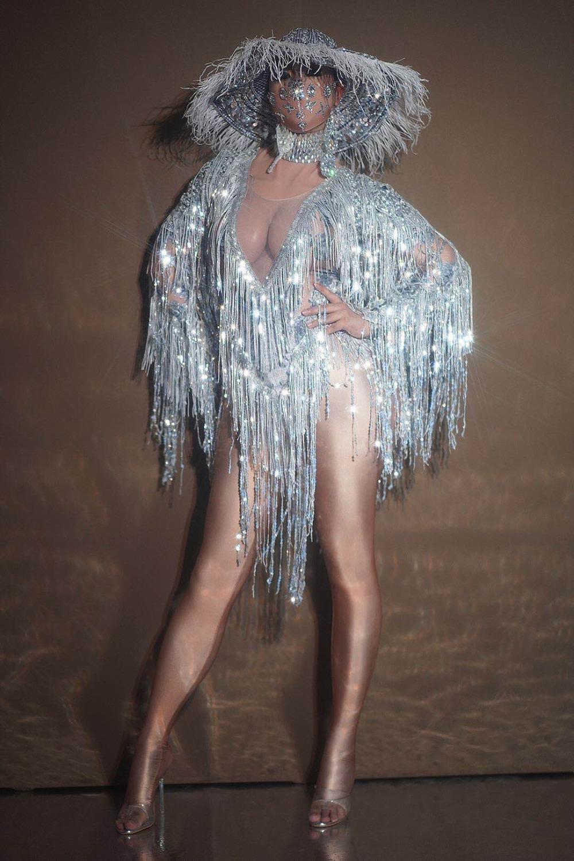 Sexy col V Silver Sequin Fringe Tassel Jumpsuit Boîte de nuit Bar DJ Femmes Chanteur Danseur Leotard Stage Porter Rave Party Voir Performance Costume