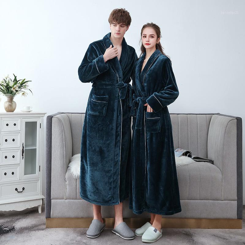 Vêtements de nuit pour femmes Femmes / Hommes Sexy Plus Taille Taille Robe Robe Robes Hiver Flanel Couple Longue peignoir chaude Chaud femme1