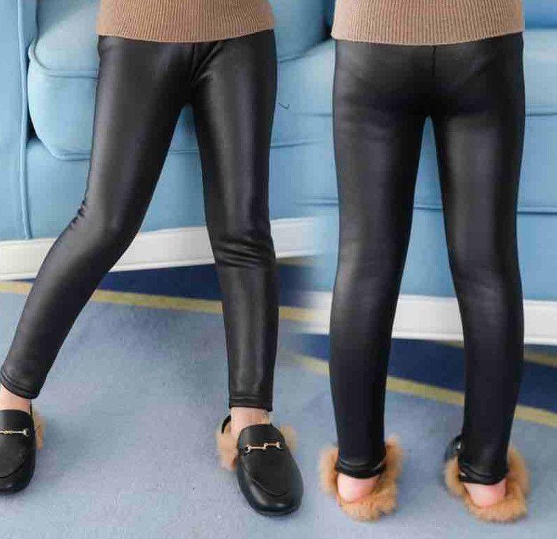 Fashion kids PU pants winter girls elastic waist pencil pants kids casual trouse autumn winter children thicken leggings bottom A5041
