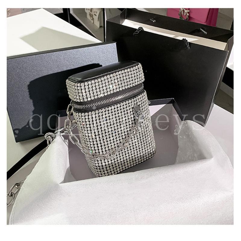 2021 Nuovo stile di alta qualità di lusso di lusso borsetta moda diamante piccolo sacchetto quadrato sacchetto di strass borsa del telefono cellulare catena di messaggero femminile