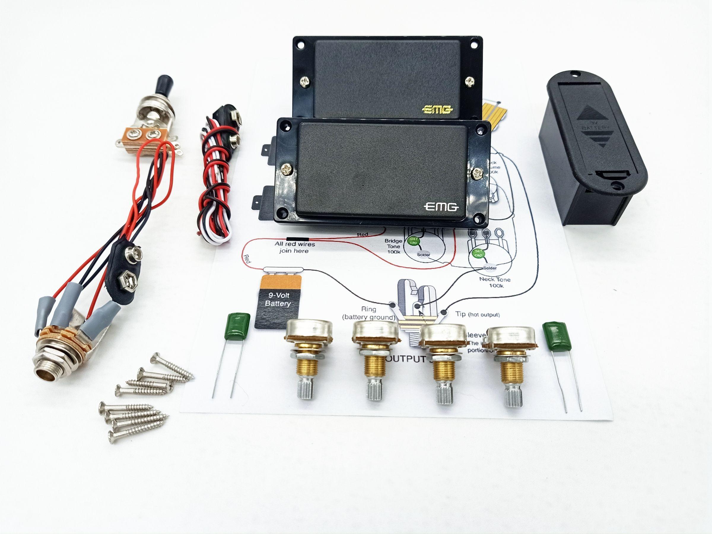 Pickups de guitarra eléctrica EMG Pickup activo Humbucker 9V Fuente de alimentación de la batería en stock