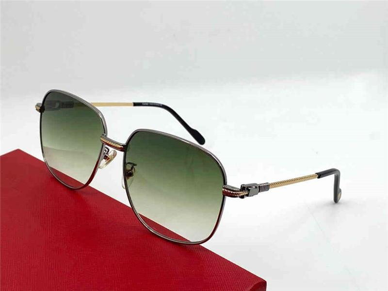 0299 Yeni Erkekler ve Kadınlar Kare Güneş Gözlüğü Metal Çerçeve Aviator Popüler Retro UV400 Lensler En Kaliteli Göz Koruma Klasik Stil Kutusu Ile