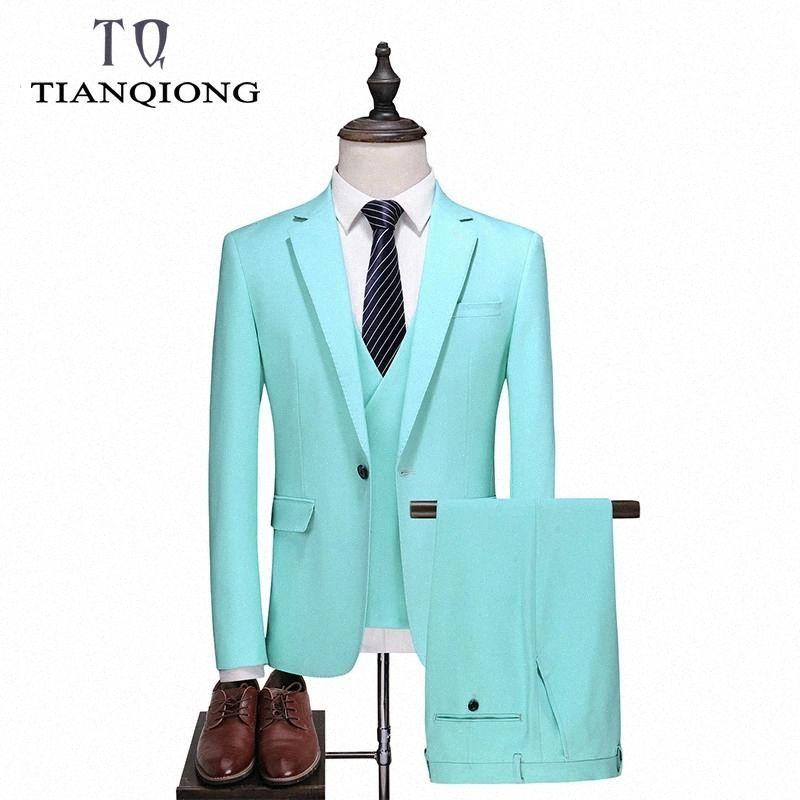 TIAN QIONG Turquoise Suit Men 2019 Classic Mens Suits with Pants Slim Fit Wedding Suits for Men Elegant Latest Coat Pant Designs #aR1y