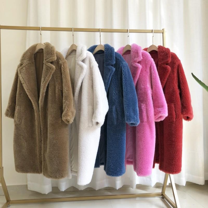 Женский меховой меховые искусственные роскоши настоящие куртки женские овечьи пальто свободно мода теплый толстый толщиной 2021 зима верхняя одежда Parkas aparel женские пальто