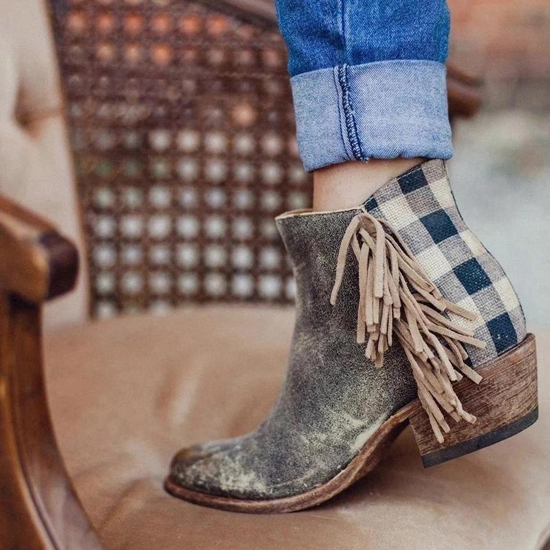 Bottines en cuir 2020 Automne Vintage Fringe Femmes Chaussures Chaussures confortables Bottes de talon Femme Plaid Cadre Zipper Short Botas Mujer # FG0O