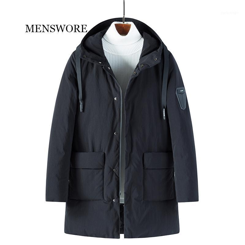 MENSWORE 2018 New Men down jacket Winter Thick Warm Fashion Patchwork Men's Fur collar Hooded Men White Duck down Coat Parkas1