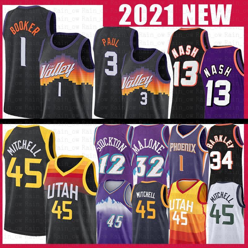 Utah Jazz Phoenix Suns Donovan 45 Devin 1 Booker Mitchell Steve 13 Nash Chris 3 Paul Football Jersey Rudy 27 Gobert John 12 Stockton Karl Charles Malone Barkley 34