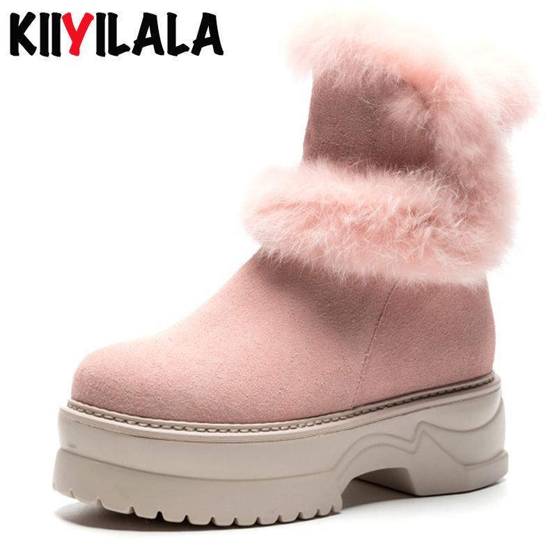 Kiiyilala Kuhveloursleder Winter Schnee Stiefel Damen Schuhe Plüsch Keil Chunky Heel-Plattform-Schuhe Rubbit Pelz Frau Booties Ankle Boots