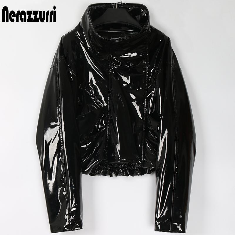 Nerazzurri Zip up patent leather jacket women long sleeve Short oversized plus size fashion Fall women clothes dropshipping 201020