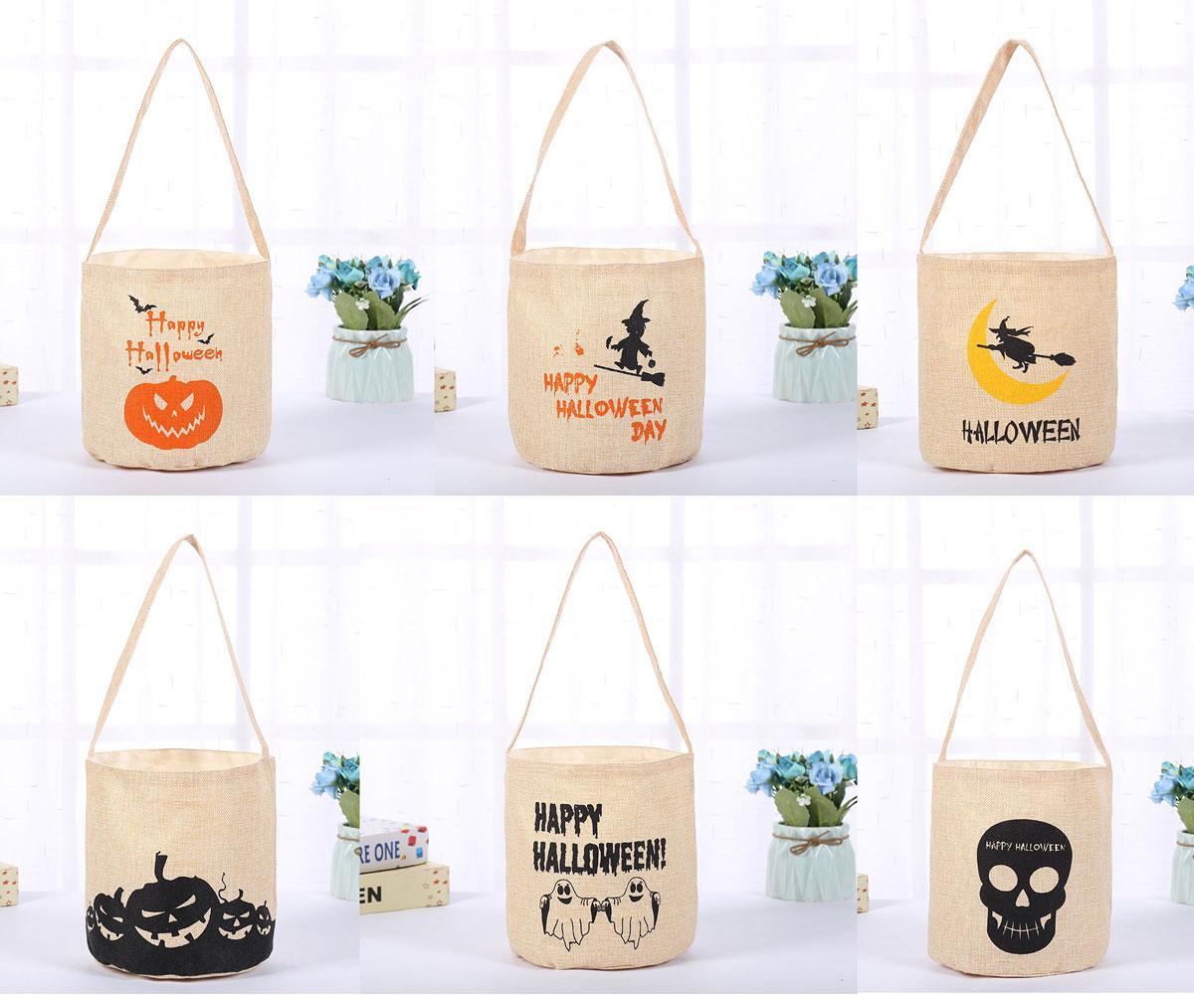 Lumineux Halloween Sacs Candy Sacs Fournitures de fête Sacs de godets en toile Sacs fourre-tout Sacs fourre-tout pour tromper ou traiter, sac d'épicerie réutilisable