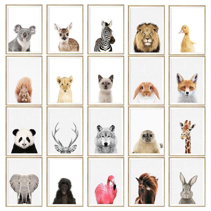 NUOMEGE الطفل الحيوان الباندا المشارك الزرافة الفيل قماش اللوحة جدار الفن الحضانة الشمال صورة الاطفال ديكور غرفة T200319