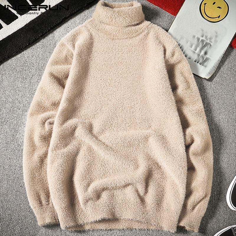 Зимний свитер Теплый Перемычка Поддельный руно Водолазка с длинным рукавом 2020 Мужская мода Пуловеры Streetwear Incerin S-5xl