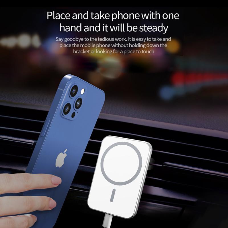 15 Вт быстрое беспроводное магнитное автомобильное зарядное устройство вентиляционное крепление для iPhone 12 12 Pro Max iPhone 12 мини магнит адсорбируемый смартфон автомобильный держатель