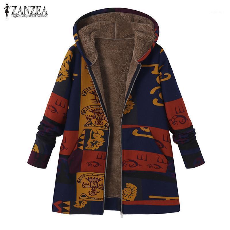 Женские куртки Осенняя старинная этническая искусственная фудья верхняя одежда Zanzea 2021 женская молния с капюшоном с капюшоном напечатанные тонкие пальто женские пальто TOP 5XL1