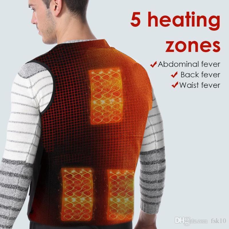 Alimentado por USB ajustável lavável aquecida Vest com 3 ajustes de temperatura Caminhadas Camping Pesca Quente Aquecido Exterior Vest