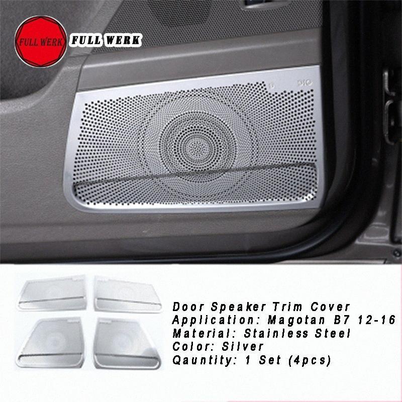 Edelstahl-Auto-Tür-Lautsprecher Trim Dekoration Abdeckung für Magotan B7 12 16 Innen hintere Tür Audio-Aufkleber-Schutz Accessori strB #