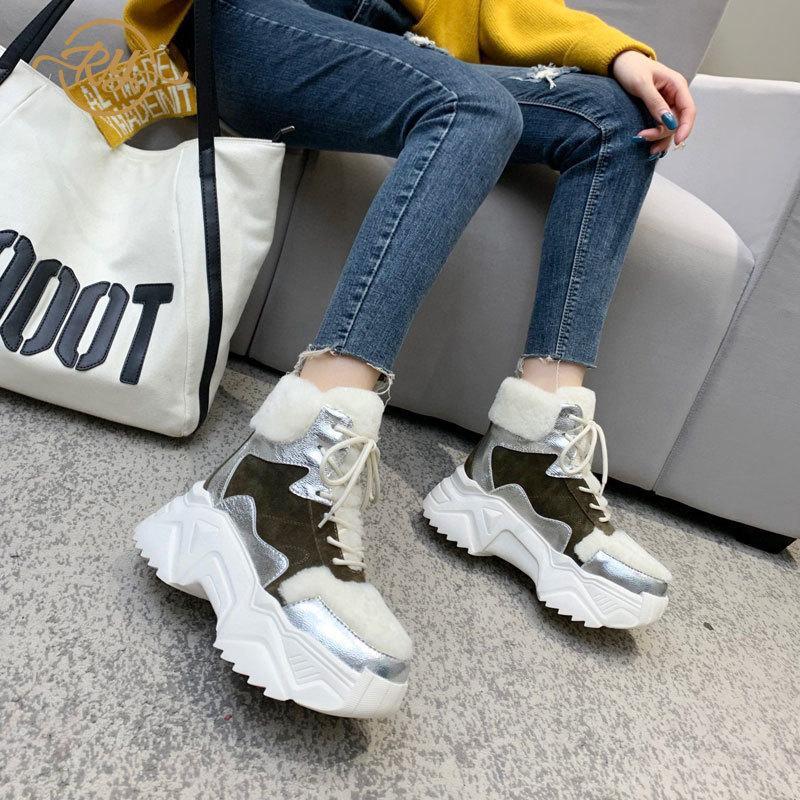 Ry-Relaa Europa Estación de cuero genuino Zapatos de mujer 2020 Moda Nuevas botas de lana InS Pasaje de invierno para mujer Marea de algodón